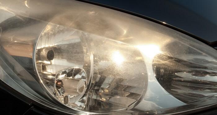 Close up of a car headlight