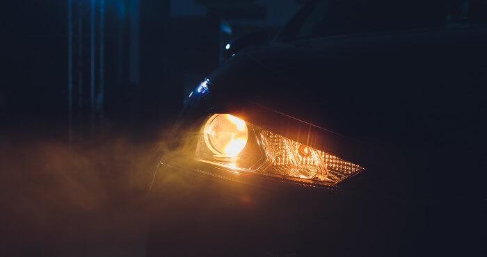 Car headlight in the dark