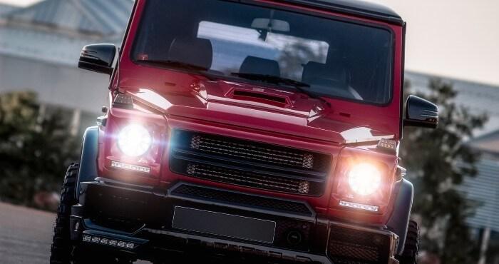 Jeep with headlights on