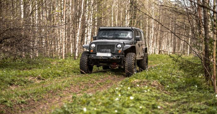 Black jeep wrangler offroad