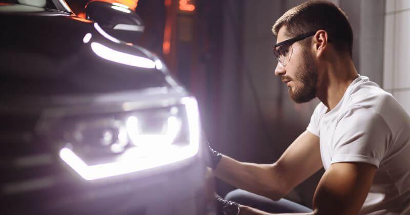 car headlights on