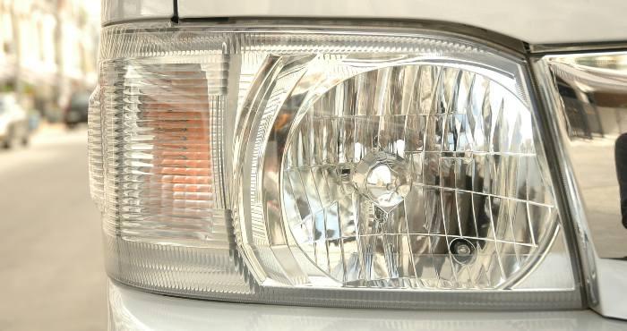 LED headlight closeup detail