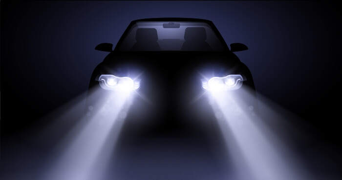 car headlights in the dark