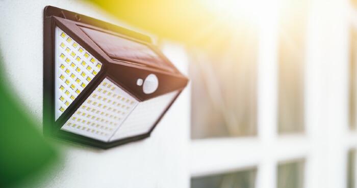 solar powered light on wall