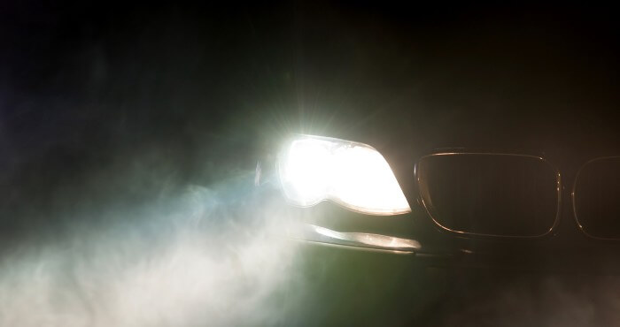 Car Headlights At Night