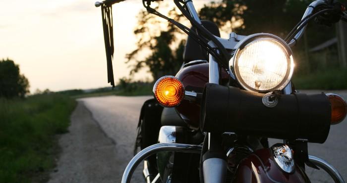 Headlights focus on motorbike