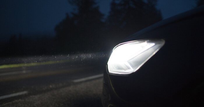 Whited headlights on at night