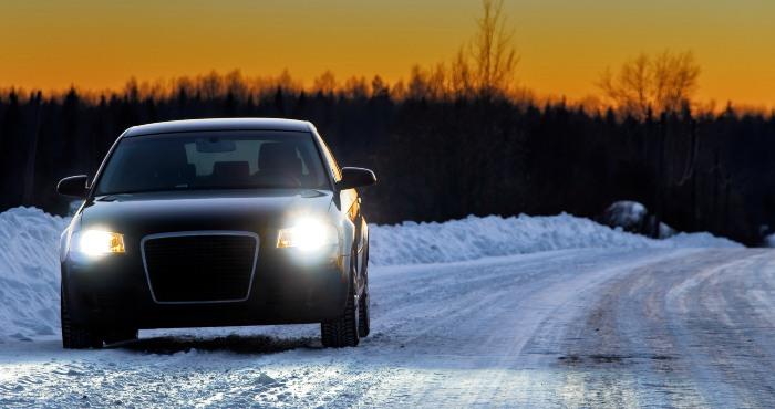 black car with white headlight