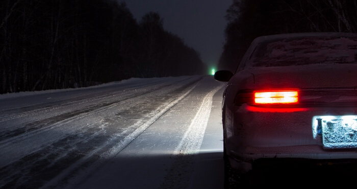 driving on a snowy night
